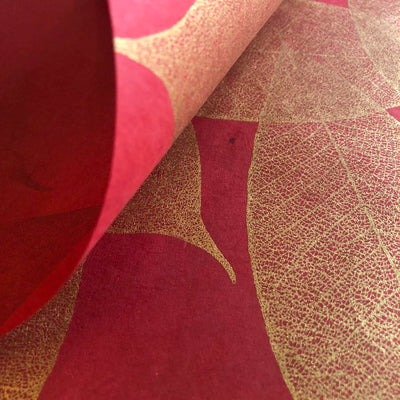 SPBoGR: Screen Print Bodhi Leaf - (Red), Paper, Kami - Kami