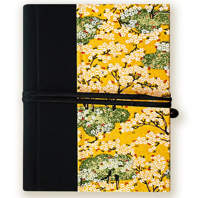 Art Wrap Spiral Unlined A5 (148mm x 210mm) - yellow blossoms, Journal, Kami - Kami