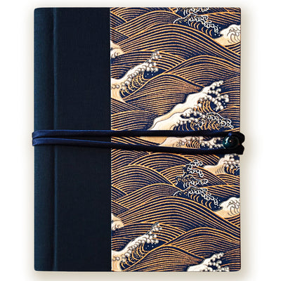 Art Wrap Spiral Unlined A5 (150mm x 210mm) - Blue and Gold waves, Journal, Kami - Kami