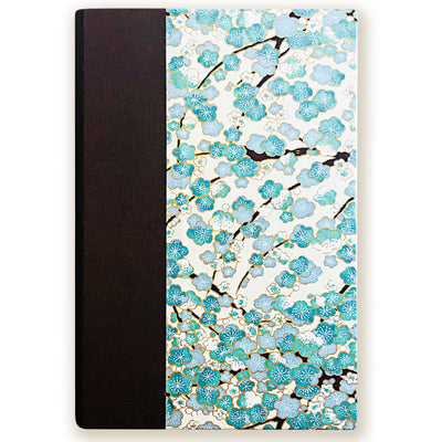Art Ivory Hard Cover Journal (A5) -baby blue sakura on brown stems - Kami Paper