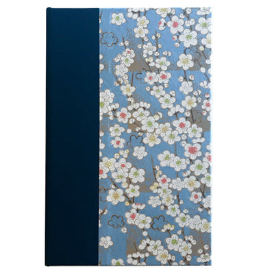 Art Ivory Hard Cover Journal (A5) - white flowers with light blue background - Kami Paper