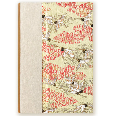Art Ivory Hard Cover Journal (A5) - Cranes with yellow background - Kami Paper