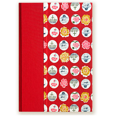 Art Ivory Hard Cover Journal (A5) -Red with Symbols - Kami Paper