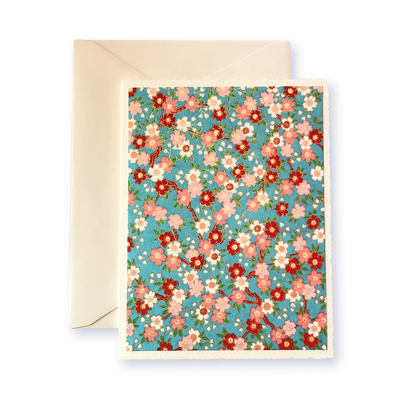 Ivory Card (A5) -  flowers with blue background, Card, Kami - Kami