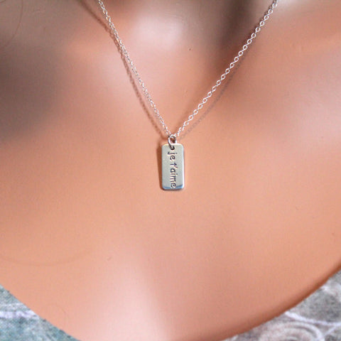 Je T'aime 'I love you' French Word Necklace – Hannah Catherines