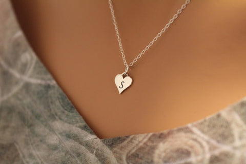 S Letter Heart Necklace – Hannah Catherines