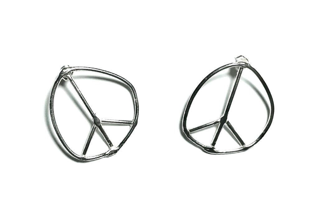 Doodle Peace Sign Stud Earrings