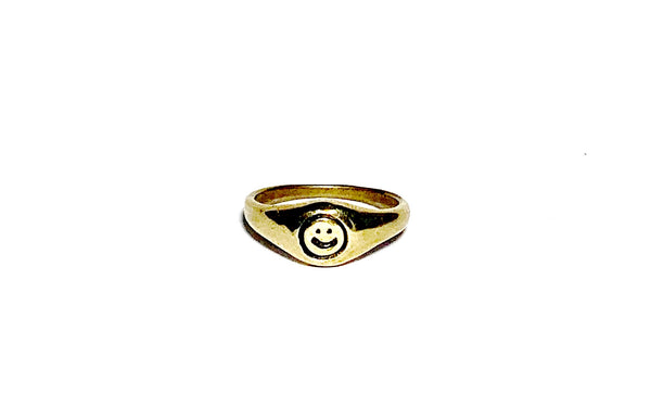 Mini Smiley Signet Ring