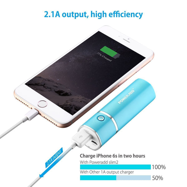 Blue Poweradd Slim 2 Mobile Power Bank Charger 5000mAh External Battery