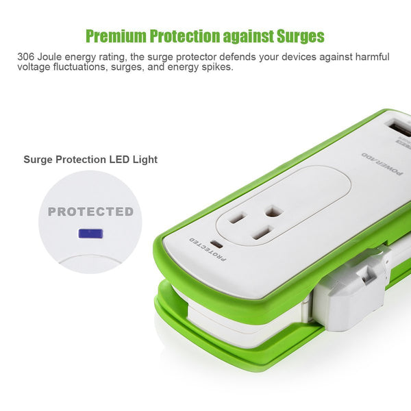[UL Listed] 2-Outlet Mini Surge Protector Travel Charger with Dual USB Port
