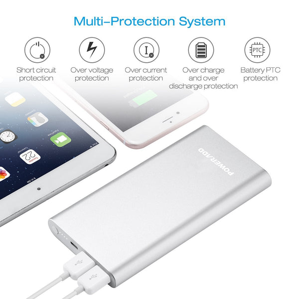 Poweradd Pilot 4GS 12000mAh Portable Charger Silver Power Bank With Lightning Cable