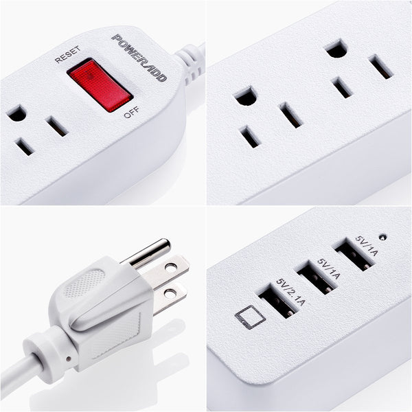 Tabletop Computer Electrical Power Strips 3 Outlet Energy Saving For Home / Office