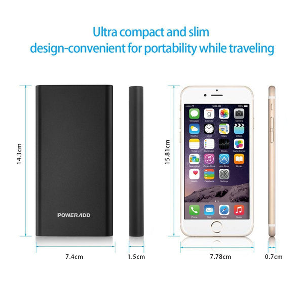 Poweradd Pilot 4GS 12000mAh Power Bank Portable Battery Charger With Lightning Input