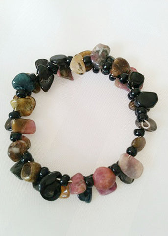 Natural Tourmaline chips irregular beads bracelet - Carline Perulla