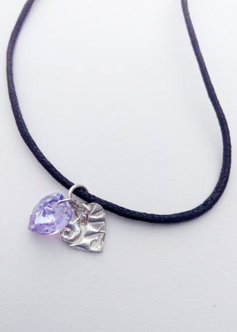 Heart pendant in silver and amethyst color - Carline Perulla