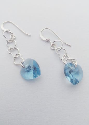 Silver and skyblue hearts - earrings - Carline Perulla