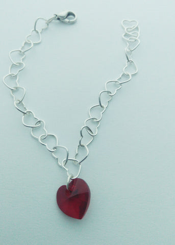 Delicate hearts and red stone bracelet - Carline Perulla