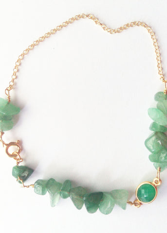 Green Onyx Gemstone and Silver-plated gold Vermeil bracelet
