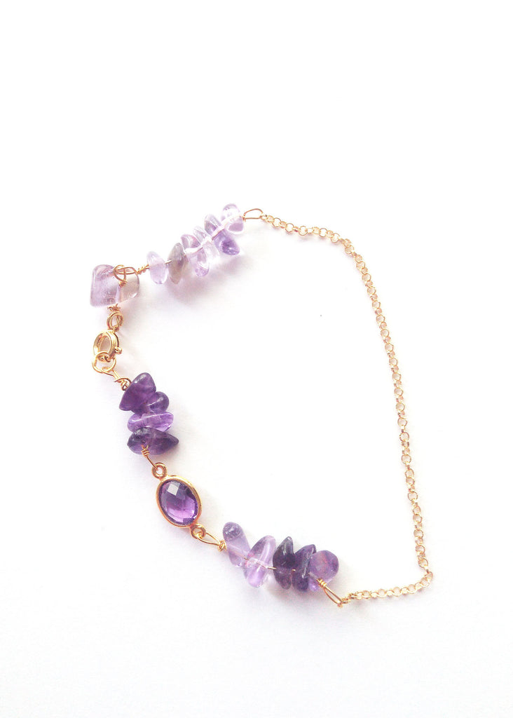 Amethyst Gemstone and Silver-plated gold Vermeil bracelet - Carline Perulla