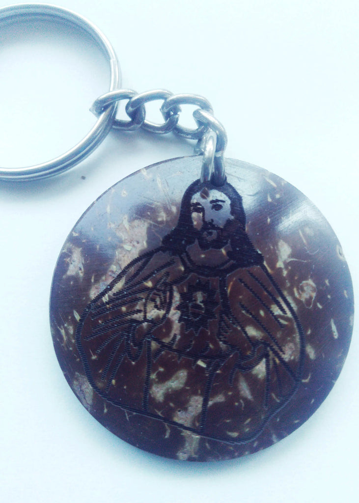 Carved Jesus on coconut shell - keychain - Carline Perulla