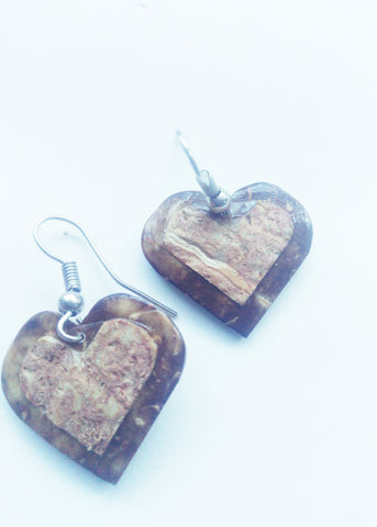Coffee brown Shell heart earrings