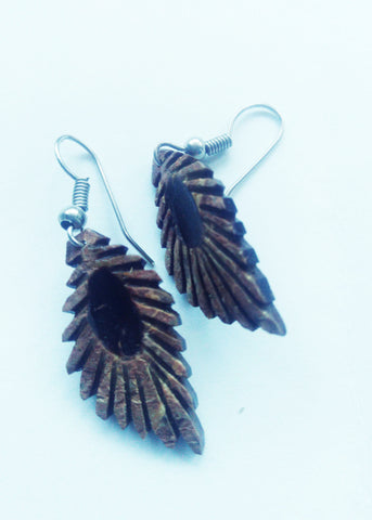 Coffee brown Shell peacock feather earrings