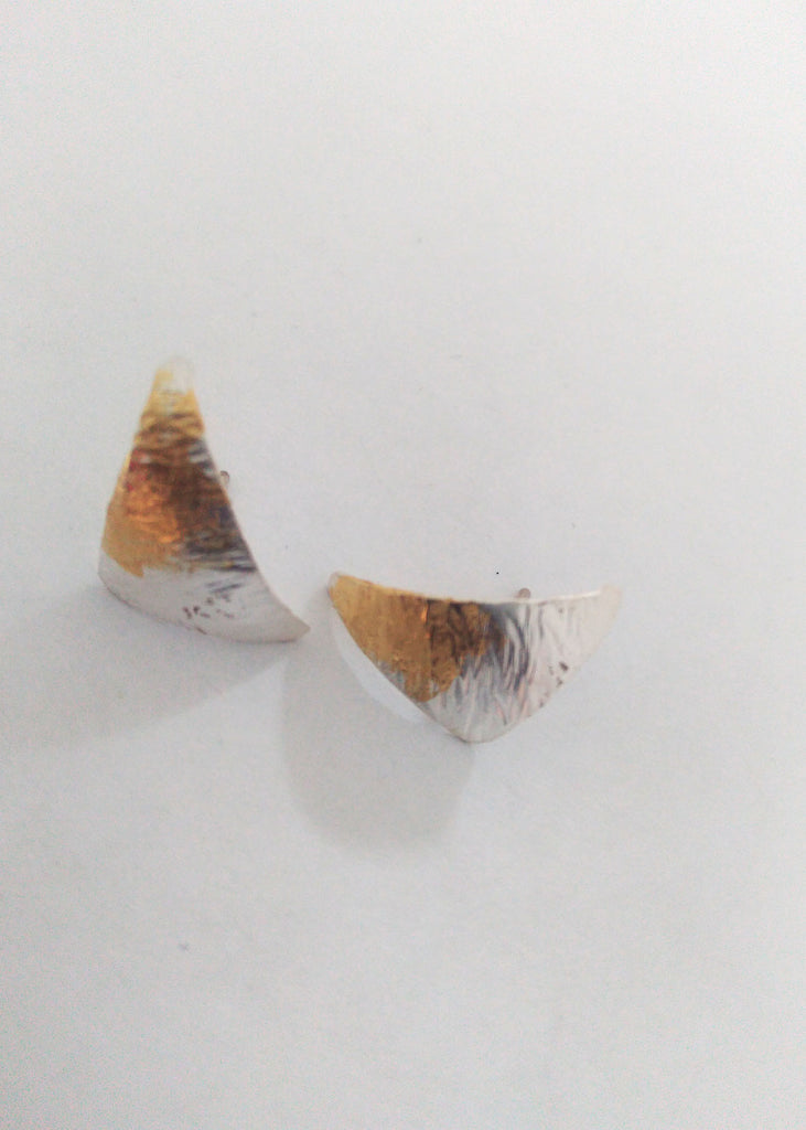 A triangle pair of silver earrings