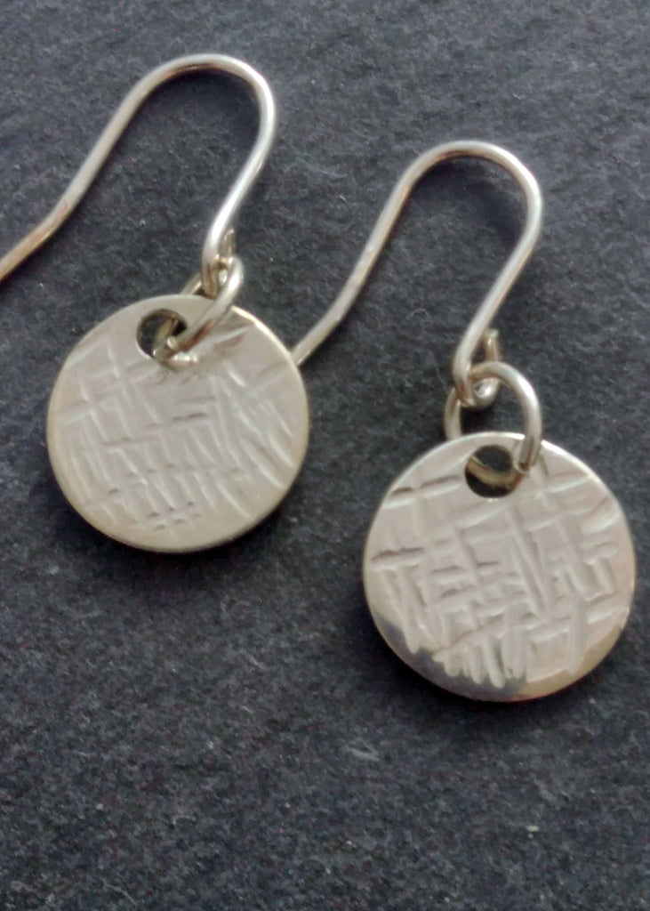 Coin geometric silver earrings
