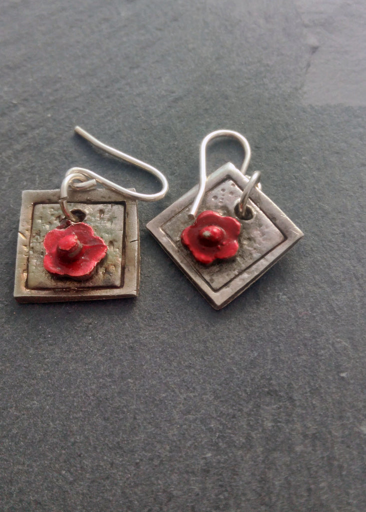 Enamelled Red Flowers - silver earrings