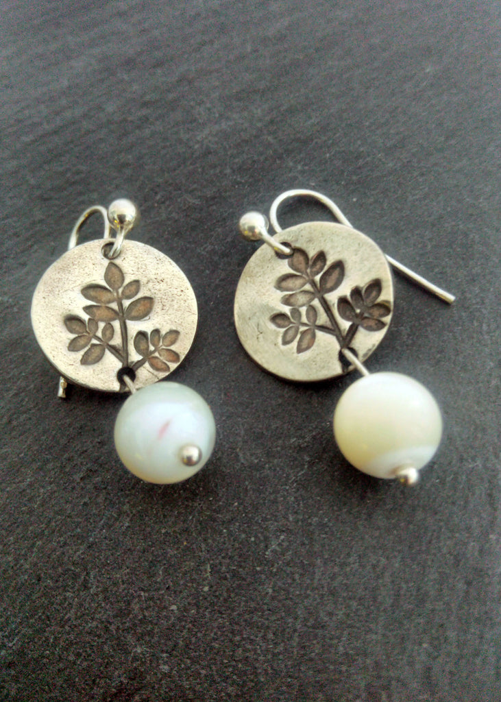 Pearls and leaves - silver earrings