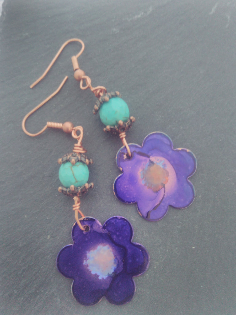 Painted Copper earrings - workshop, Boathouse Creative Studios. Barking - Sept 28