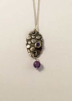 Amethyst stone and bead silver jewellery