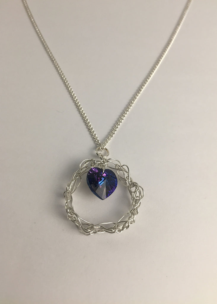 I will protect you - Blue heart with silver outer ring - Carline Perulla