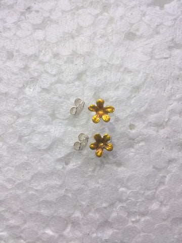 Yellow Enameled Flower earrings