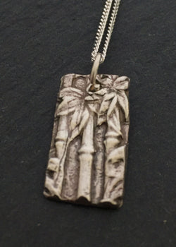 Ceres - Bamboo textured silver pendant