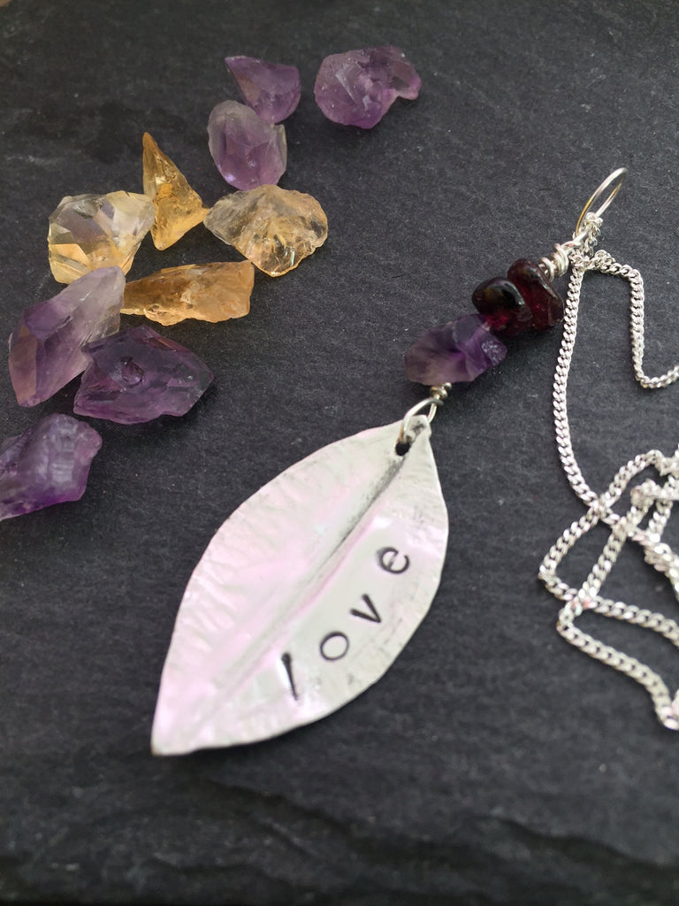 Love leaf pendant with Amethyst and Garnet stones