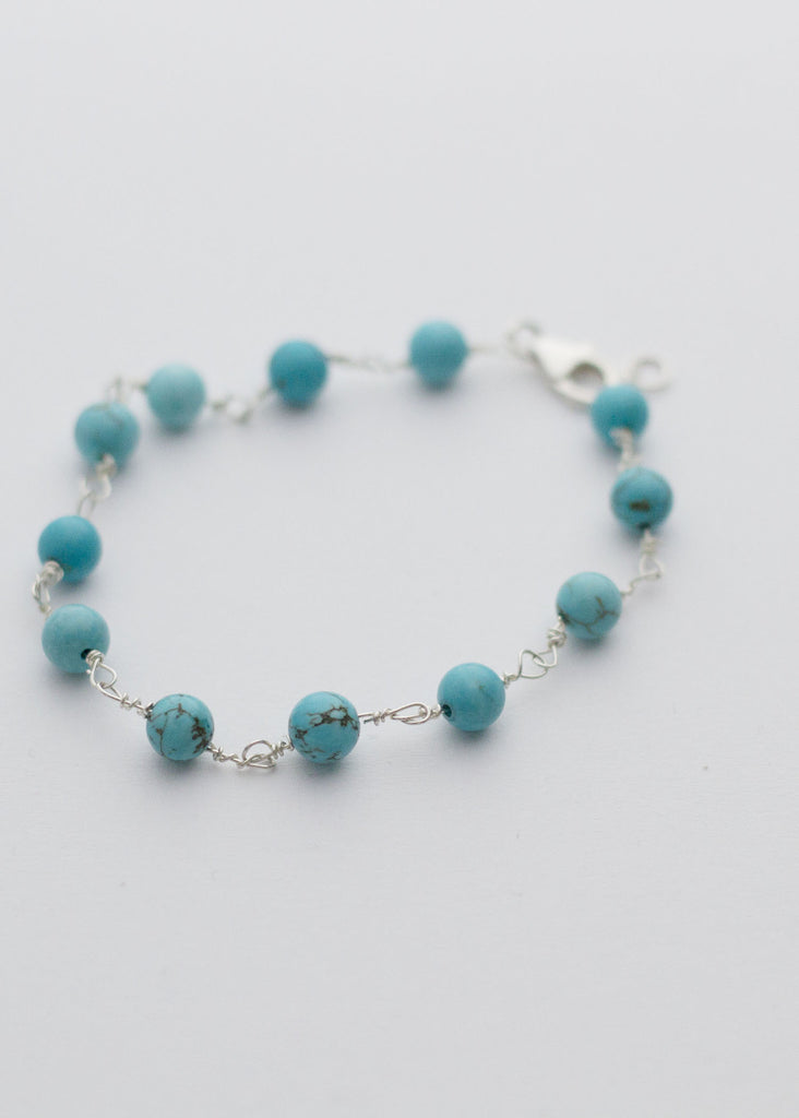 Torquoise beads bracelet with Sterling silver wire - Carline Perulla