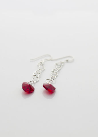 Silver and red hearts - earrings - Carline Perulla