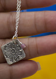 Sunflower - silver textured pendant - Carline Perulla