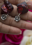 Acacia - Burgundy color -Mother of Pearls nuggets - Carline Perulla