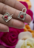 Enamelled Red Flowers - silver earrings - Carline Perulla