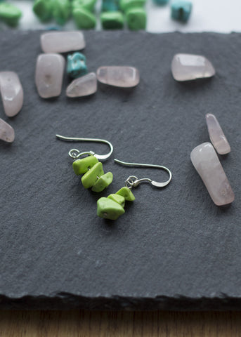 Green Turquenite  silver earrings