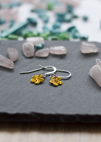 Enameled yellow flowers  silver earrings