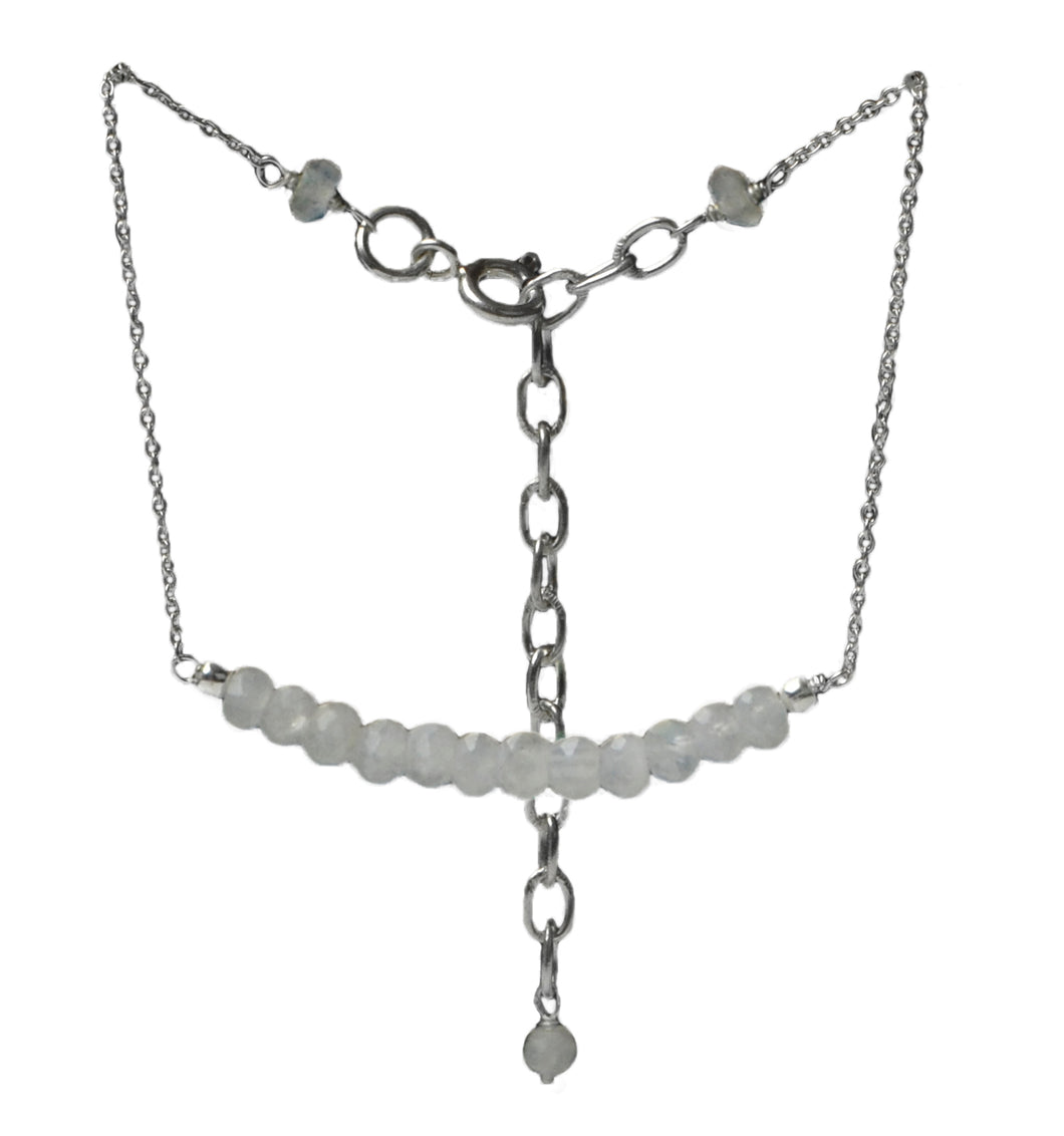 Gemstone and 2mm fine silver chain bracelet 18cm with a 5 cm extender chain.