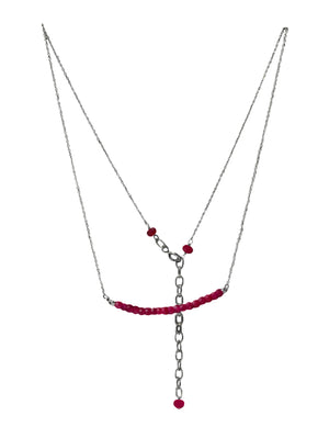Gemstone Fine Silver Chain Necklace With Extender Chain