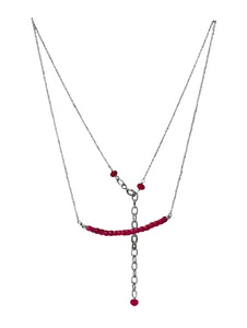 Gemstone and 2mm fine silver chain necklace 45cm with a 5 cm extender chain.