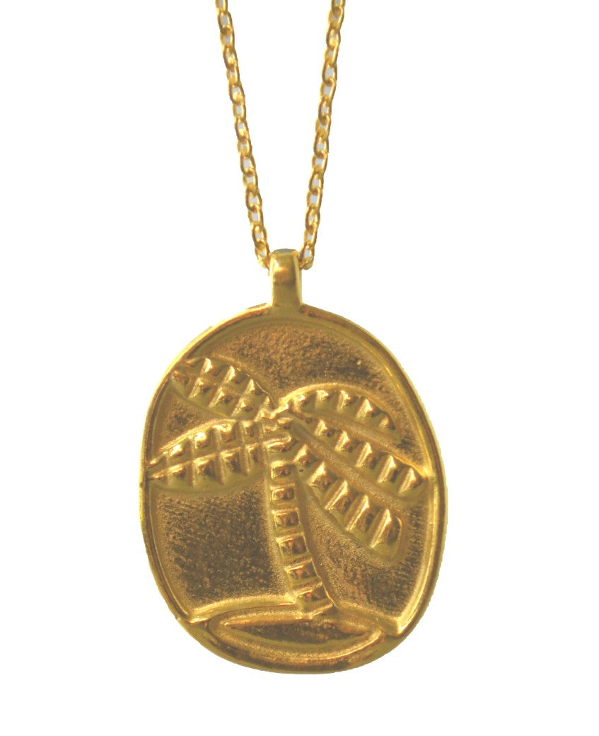 Euro Gold Palm Tree Pendant Necklace
