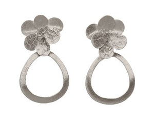 Euro Silver Flower Hoop Earrings