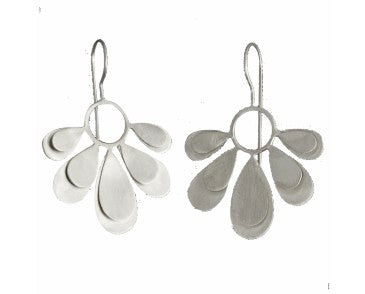Euro Silver Daisy Petal Drop Earrings C17