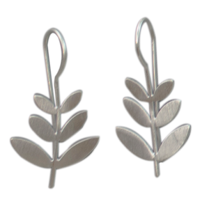 Euro Silver Leaf Brushed Earrings C9